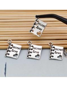 Ciondoli libro charms scritta secret love in metallo 12x18 mm 4 pz per bigiotteria
