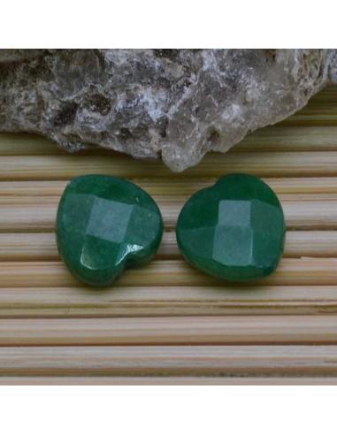 cuore 12.5 mm giada verde sfaccettata per orecchini bracciali collana