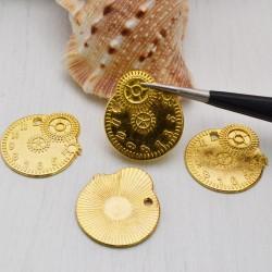 Ciondoli ingranaggi colore oro 20 x23 mm 4 Pz per bigiotteria