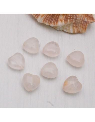 quarzo rosa forma di cuore liscio 8.5 mm per orecchini bracciali collana gioielli