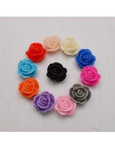 4 pz Cabochon fiori Rosa in Resina 14 mm base piatta foro passante per Bigiotteria