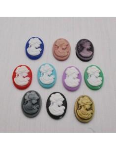 5 pz Cameo Cabochon Princess in resina 18 x 13 mm per crema gioiello per BIGIOTTERIA