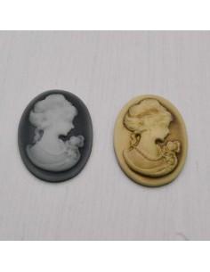 2 pz Cameo Cabochon Princess in resina 22.5 x 30 mm per crema gioiello per BIGIOTTERIA