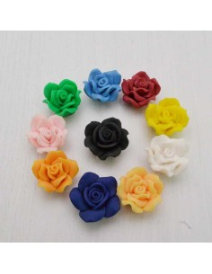 fiore pasta fimo 20-22 mm con foro passante crema gioiello per BIGIOTTERIA