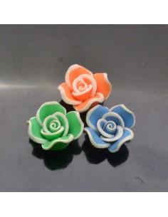 fiore pasta fimo 20 mm con foro passante crema gioiello per BIGIOTTERIA
