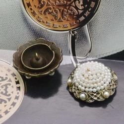 bottoni bronzo con perlini Rotonda 27 mm per le tue creazioni