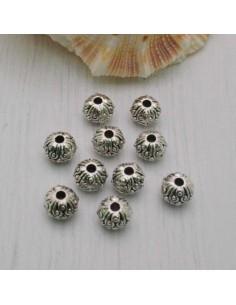 Distanziatori Perline tondo lavorata 3 x 4 mm da 45 pz in metallo per bigiotteria