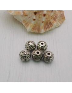 Distanziatori Perline tondo lavorata 7 mm da 5 pz in metallo per bigiotteria