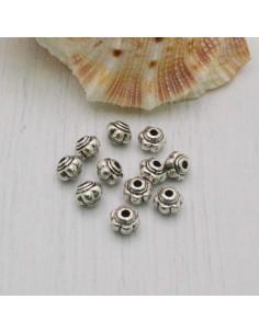 Distanziatore a forma di palla rigata 5 x 6 mm 24 pezzi in metallo per bigiotteria