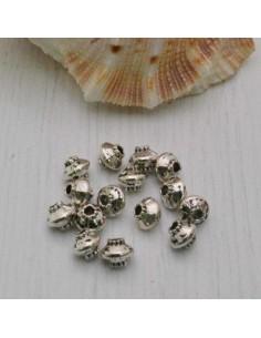 Distanziatore a forma di palla rigata 4 x 5 mm 26 pezzi in metallo per bigiotteria