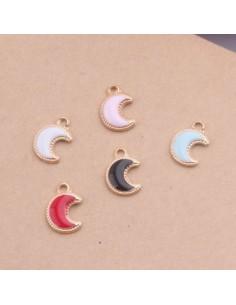 ciondolo di forma luna SMALTATO 11.5 x 8 MM 2 pz base oro chiaro per bigiotteria