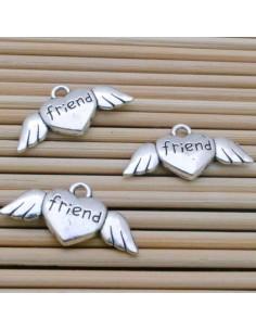 ciondoli cuore piccoli d'angelo con cuore argento 10 x 26 mm PER bracciale BIGIOTTERIA