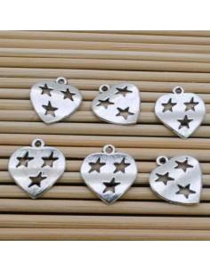 ciondoli cuore con stella 14 mm 6 pz in argentone per bigiotteria