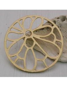 1PZ Ciondolo zama forma rotondo con fiore 48 mm