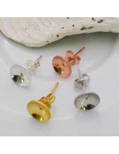 4 coppie Base Orecchini a perno con castone 8 mm incollo in ottone per bijoux