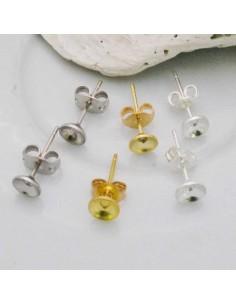 4 coppie Base Orecchini a perno con castone 5 mm incollo in ottone per bijoux