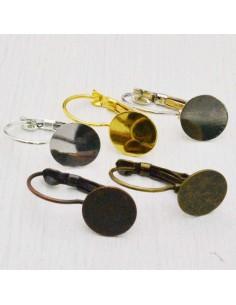 2 Paia di monachelle chiuse incollo con piatto 10 mm in ottone per bigiotteria
