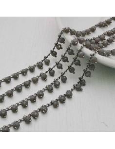 50 cm Catena Rosario con cristalli 4 mm col grigio e in Ottone per bigiotteria