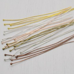 20 pz Chiodini Spilli testa Pallina in ottone filo 0.5 mm 70 mm per gioielli
