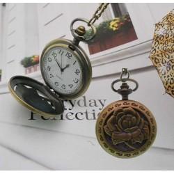 collana orologio tasca Stile Vintage ciondolo con rose e con orologio funzionante