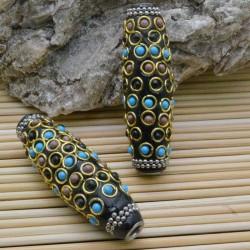 perline antiche Oriental particolare forma ovale 18 x 60 mm foro 4 mm base nero per bigiotteria