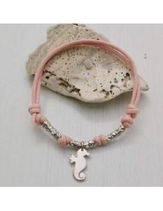 collana Bracciale con filo cerato rosa a pallina argento 925 ciondolo Cavalluccio marino donna uomo