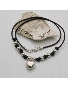 collana con filo cerato a pallina 6 mm argento 925 ciondolo cuore bombato 14 mm donna uomo