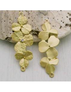Distanziatore connettore ZAMA con 3 fiore centro strass 14 x 38 mm per tuoi gioielli