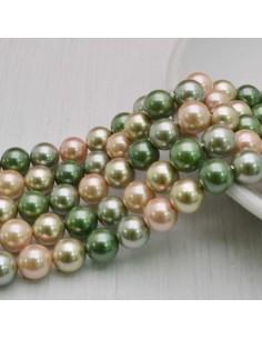 Perle Di Madreperla multicolor rotondo 8 mm base verde 49 pz per tuoi gioielli