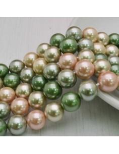 Perle Di Madreperla multicolor rotondo 10 mm base verde 41 pz per tuoi gioielli