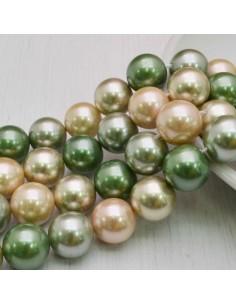 Perle Di Madreperla multicolor rotondo 12 mm base verde 34 pz per tuoi gioielli