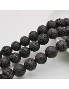 pietra lavica naturale tondo nero 4 mm - 12 mm per tuoi gioielli