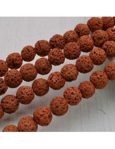 pietra lavica rotondo grezzo col rosso mattone 6 mm 8 mm per tuoi gioielli