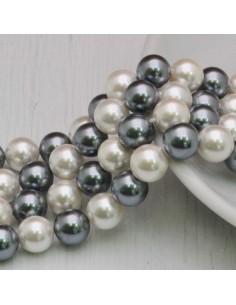 Perle Di Madreperla multicolor rotondo COL GRIGIO bianco 8 mm 49 pz per tuoi gioielli