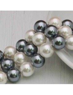 Perle Di Madreperla multicolor rotondo COL GRIGIO bianco 10 mm 40 pz per tuoi gioielli