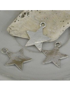 ciondoli Charms forma stella liscia argento 20 MM 5 Pz per bigiotteria