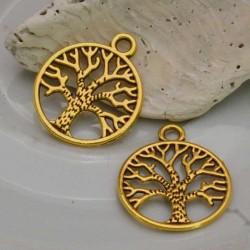 Ciondolo albero della vita 20 mm in metallo colore oro 4 pz