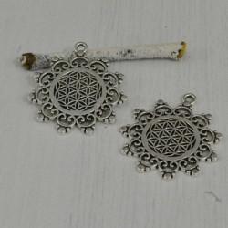 2 pz Ciondolo Fiore Della vita 30 mm colore argento in metallo