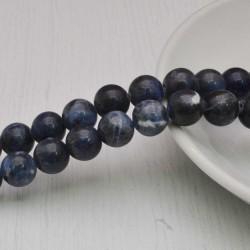 filo pietre di sodalite tondo liscio 10 mm 40 pz per tuoi gioielli