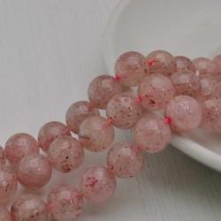 Filo pietra quarzo ematoide rosa tondo liscio 10.5 mm 37 pz PER TUOI GIOIELLI