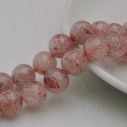 Filo pietra quarzo ematoide rosa tondo liscio 12 mm 31 pz PER TUOI GIOIELLI