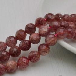 Filo pietra quarzo ematoide rosa e sfaccettata tondo 10 mm 39 pz PER TUOI GIOIELLI