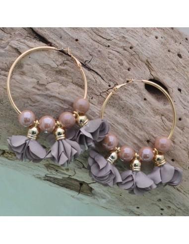 Orecchini fiori in raso corda Cerchio anello oro 45 mm con perle in ceramica