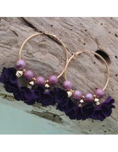 Orecchini fiori in raso col viola Cerchio anello oro 45 mm con perle in ceramica