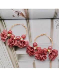Orecchini fiori in raso col rosa fucsia Cerchio anello oro 45 mm con perle in ceramica