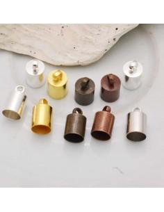 8 PZ FINALI E TERMINALI CAPOCORDA CORDINI TUBOLARI E FETTUCCE 10 x 6 mm IN OTTONE