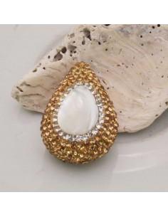 Perle Di MADREPERLA Gocce 28 X 20 MM Marcasite Strass Oro CON FORO PASSANTE