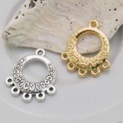 Chandelier Base per orecchini con 5 anelli per ciondoli 21 x 17 MM 1 paio PER BIGIOTTERIA