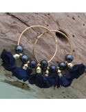 orecchini donna cerchio con fiori nappe oro 50 mm con perle in ceramica