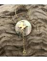 Orecchini con conchiglia tondo pendente Farfalla e catena lettere iniziare oro in argento 925